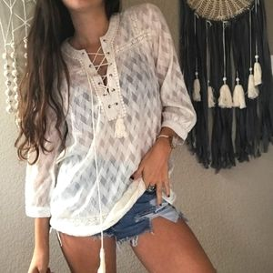 California Moonrise Boho semi sheer blouse